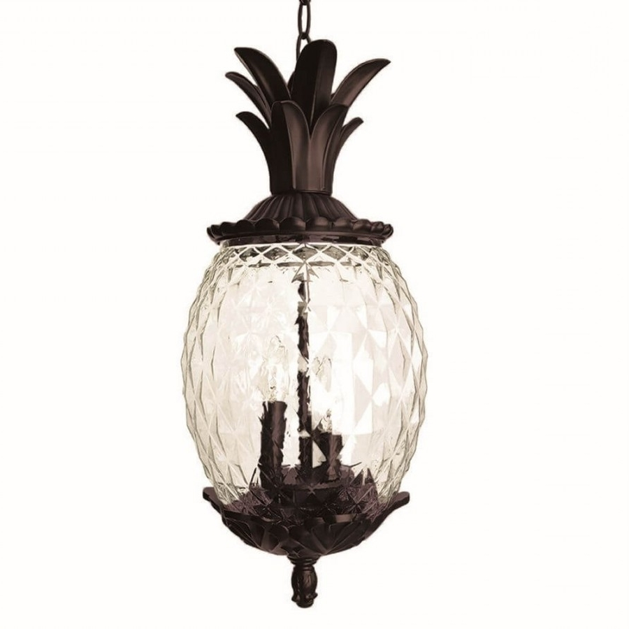 Favorite Outdoor Pineapple Lanterns Pertaining To 21 Inch Tall Dark Bronze Pineapple Outdoor Hanging Lantern Light (View 10 of 20)