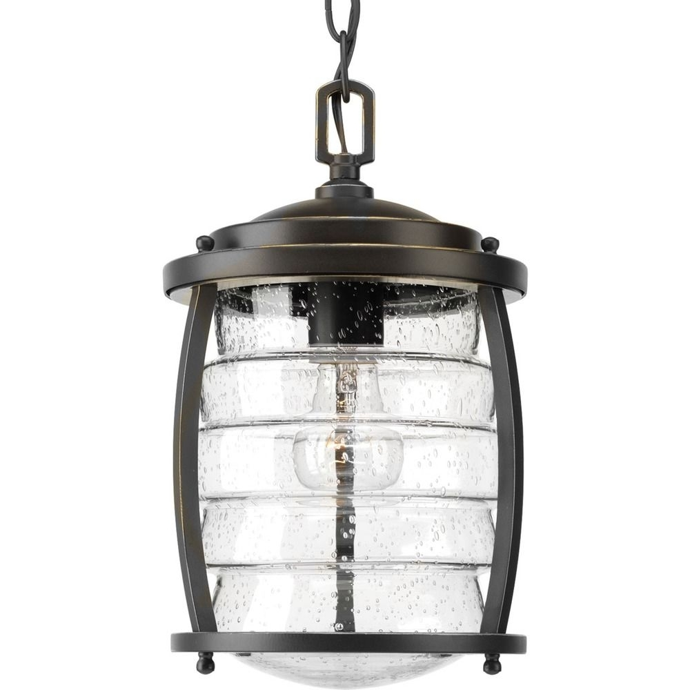 Favorite Seeded Glass Outdoor Hanging Light Oil Rubbed Bronze Progress In Outdoor Hanging Oil Lanterns (View 16 of 20)