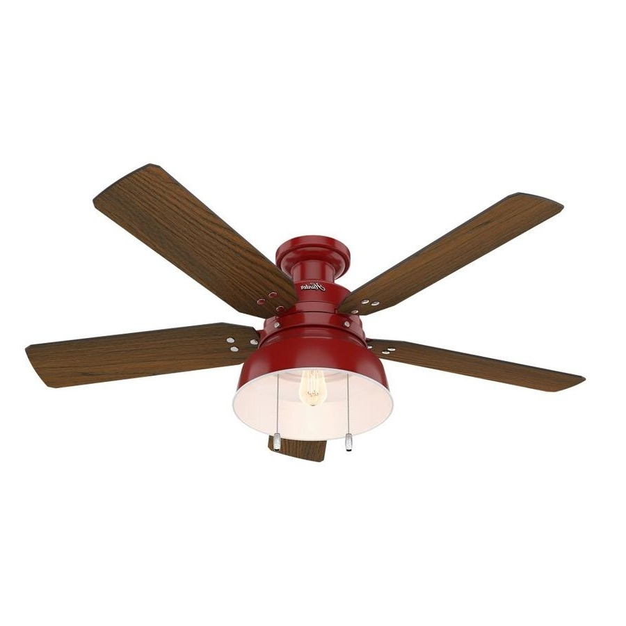 Flush Mount Outdoor Ceiling Fans Inside Most Popular Shop Hunter 1 Pack Mill Valley 52 In Red Flush Mount Indoor/outdoor (View 8 of 20)