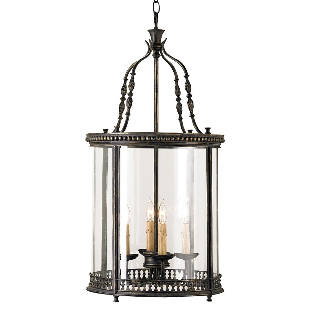 Gardner Vintage Glass Panels French Black 4 Light Lantern Pendant With Regard To 2018 Vintage Outdoor Lanterns (View 18 of 20)