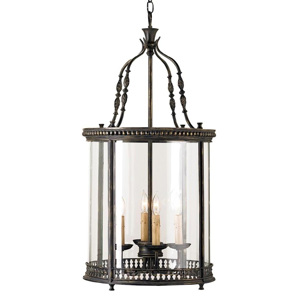 Gardner Vintage Glass Panels French Black 4 Light Lantern Pendant With Regard To 2018 Vintage Outdoor Lanterns (Gallery 18 of 20)