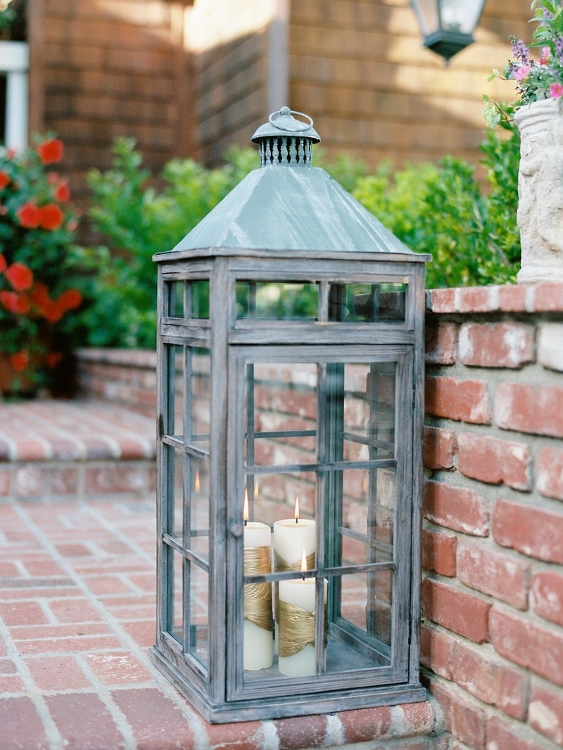 Gold Outdoor Lanterns Pertaining To Preferred Reception Décor Photos – Rustic Lantern With White & Gold Candles (Gallery 16 of 20)