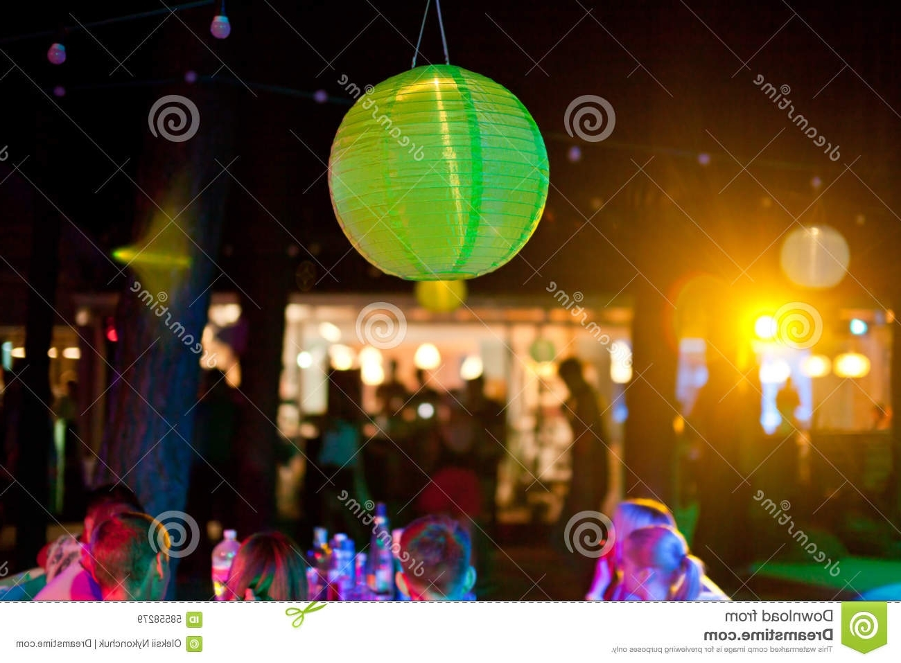 Green Paper Lantern Outdoor Party With People On Background Stock Throughout Most Popular Outdoor Paper Lanterns (View 4 of 20)