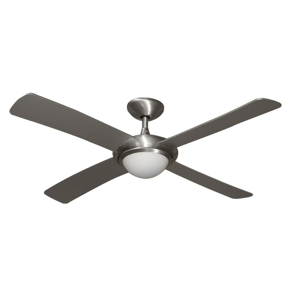 "Gulf Coast Luna Fan – 52"" Modern Outdoor Ceiling Fan – Brushed Inside Recent Coastal Outdoor Ceiling Fans (Gallery 4 of 20)"
