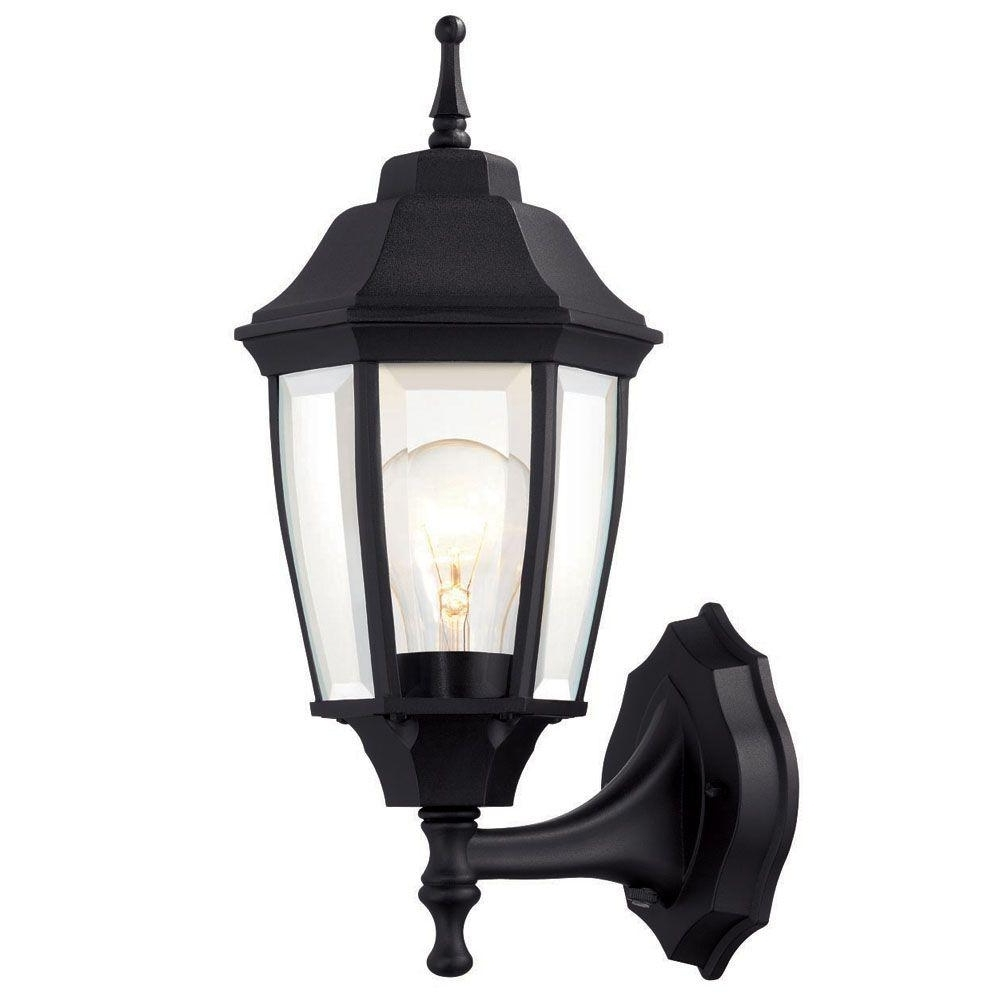 Hampton Bay 1 Light Black Dusk To Dawn Outdoor Wall Lantern Bpp1611 With Preferred Black Outdoor Lanterns (Gallery 4 of 20)