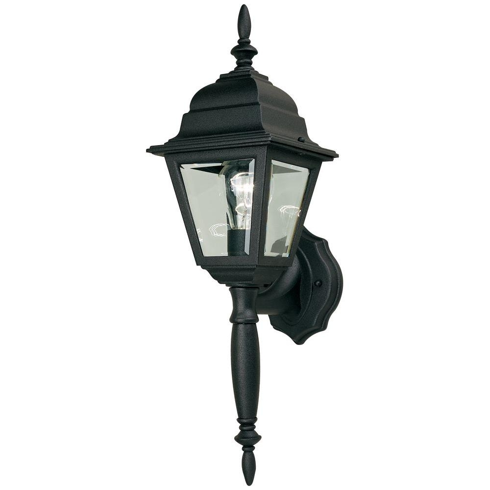 Hampton Bay 1 Light Black Outdoor Wall Lamp Hb7023P 05 – The Home Depot For Preferred Waterproof Outdoor Lanterns (Gallery 15 of 20)