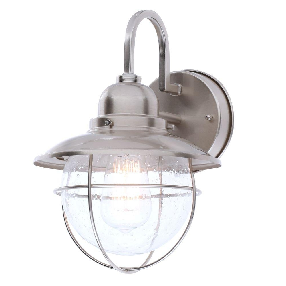 Hampton Bay 1 Light Brushed Nickel Outdoor Cottage Lantern Boa1691h Within Well Liked Outdoor Empty Lanterns (View 11 of 20)