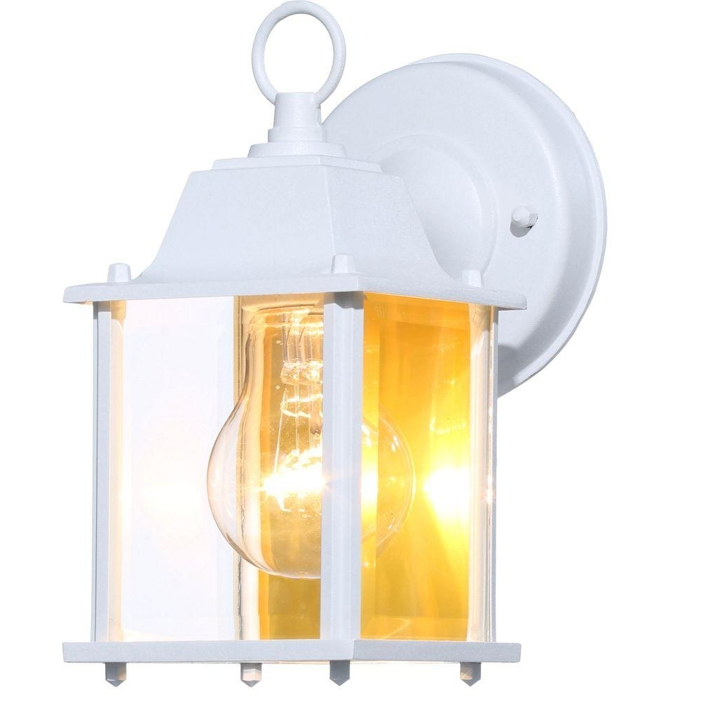 Hampton Bay 1 Light White Outdoor Wall Lantern Bpm1691 Wht – The In Most Recent Yellow Outdoor Lanterns (Gallery 14 of 20)
