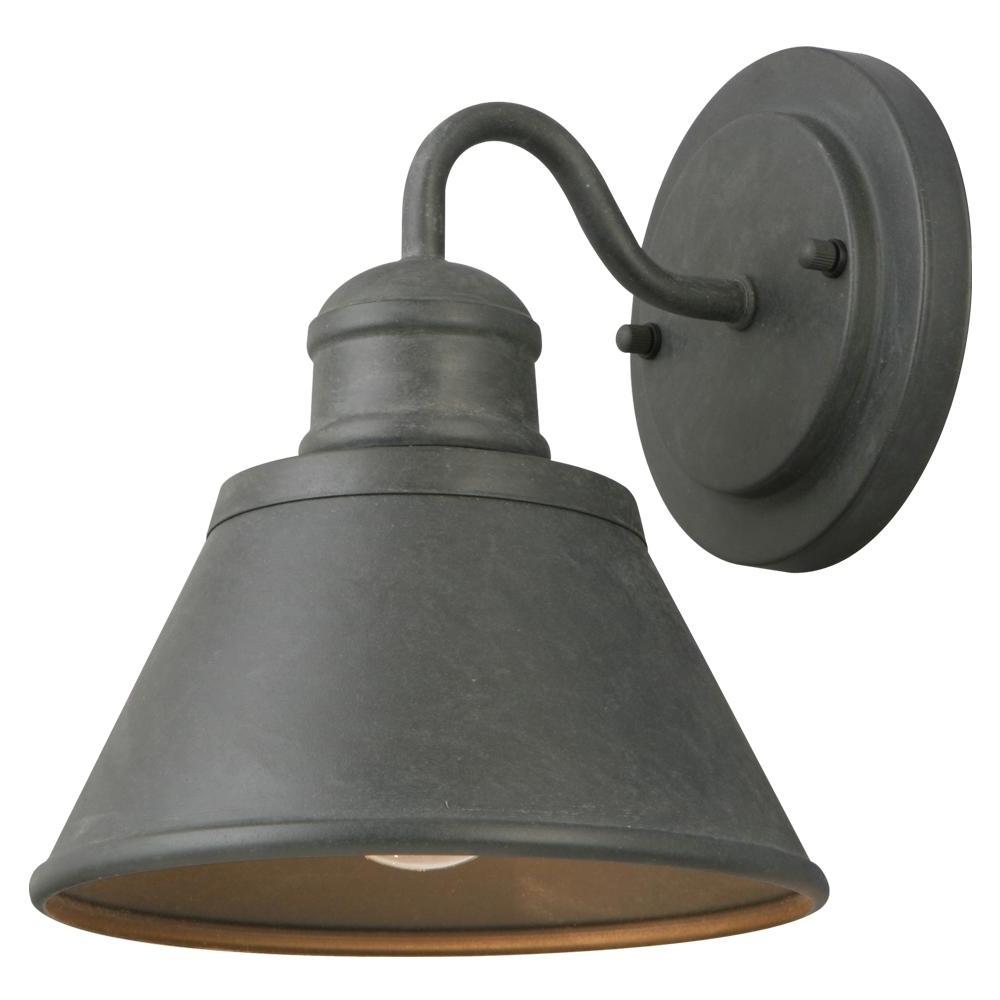 Hampton Bay 1 Light Zinc Outdoor Wall Lantern Hsp1691a – The Home Depot Regarding Popular Home Depot Outdoor Lanterns (View 13 of 20)