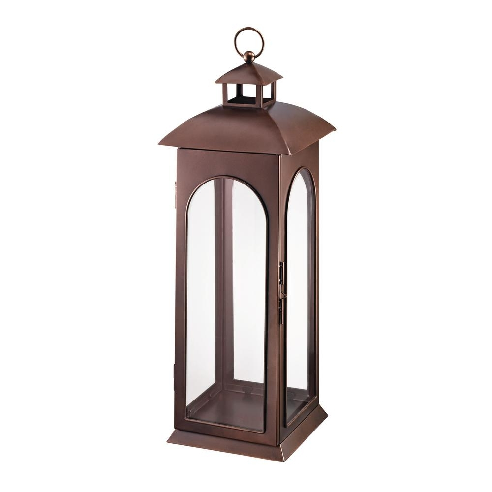Hampton Bay 30 In. Metal Lantern In Copper Hd16009Xl – The Home Depot With Trendy Outdoor Metal Lanterns For Candles (Gallery 10 of 20)