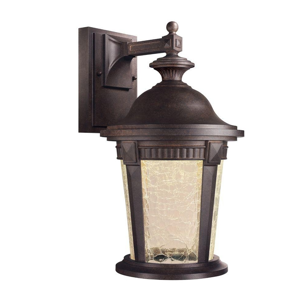 Hampton Bay Basilica Collection Mystic Bronze Outdoor Led Wall Pertaining To Well Liked Outdoor House Lanterns (View 13 of 20)