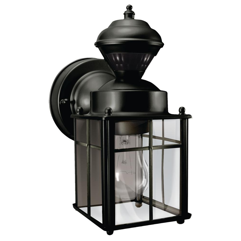 Hampton Bay Bayside Mission 150 Degree Black Motion Sensing Outdoor Intended For Well Liked Metal Outdoor Lanterns (Gallery 7 of 20)