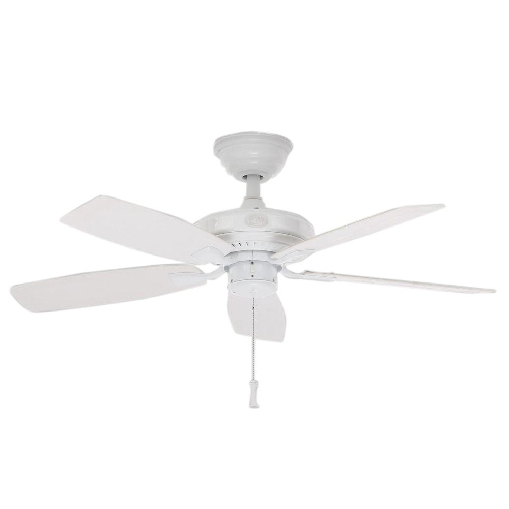 Hampton Bay Gazebo Ii 42 In. Indoor/outdoor White Ceiling Fan Yg187 Regarding Best And Newest White Outdoor Ceiling Fans With Lights (Gallery 3 of 20)