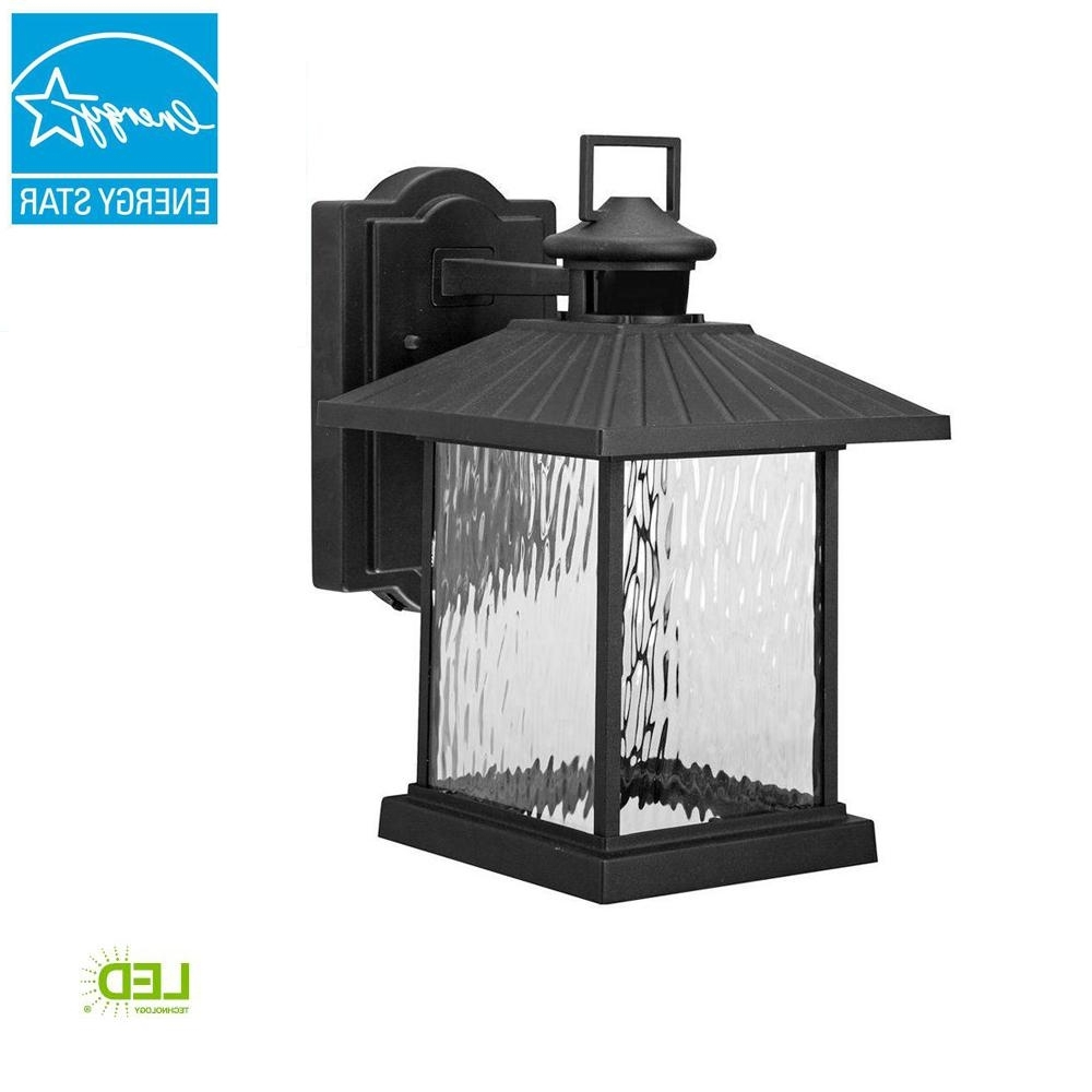 Hampton Bay Lumsden Outdoor Black Led Motion Sensor Wall Mount Regarding Famous Outdoor Gazebo Lanterns (View 13 of 20)