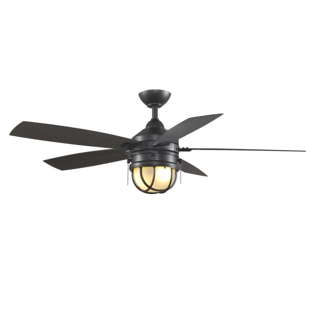 Hampton Bay Seaport 52 In. Indoor/outdoor Natural Iron Ceiling Fan Throughout Most Popular Nautical Outdoor Ceiling Fans With Lights (Gallery 20 of 20)