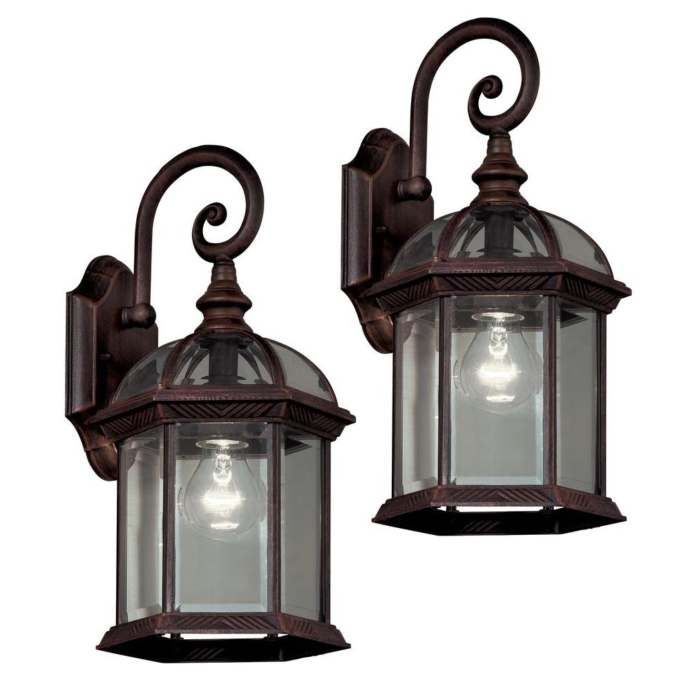 Hampton Bay Twin Pack 1 Light Weathered Bronze Outdoor Lantern 7072 For Most Recent Outdoor Cast Iron Lanterns (Gallery 7 of 20)