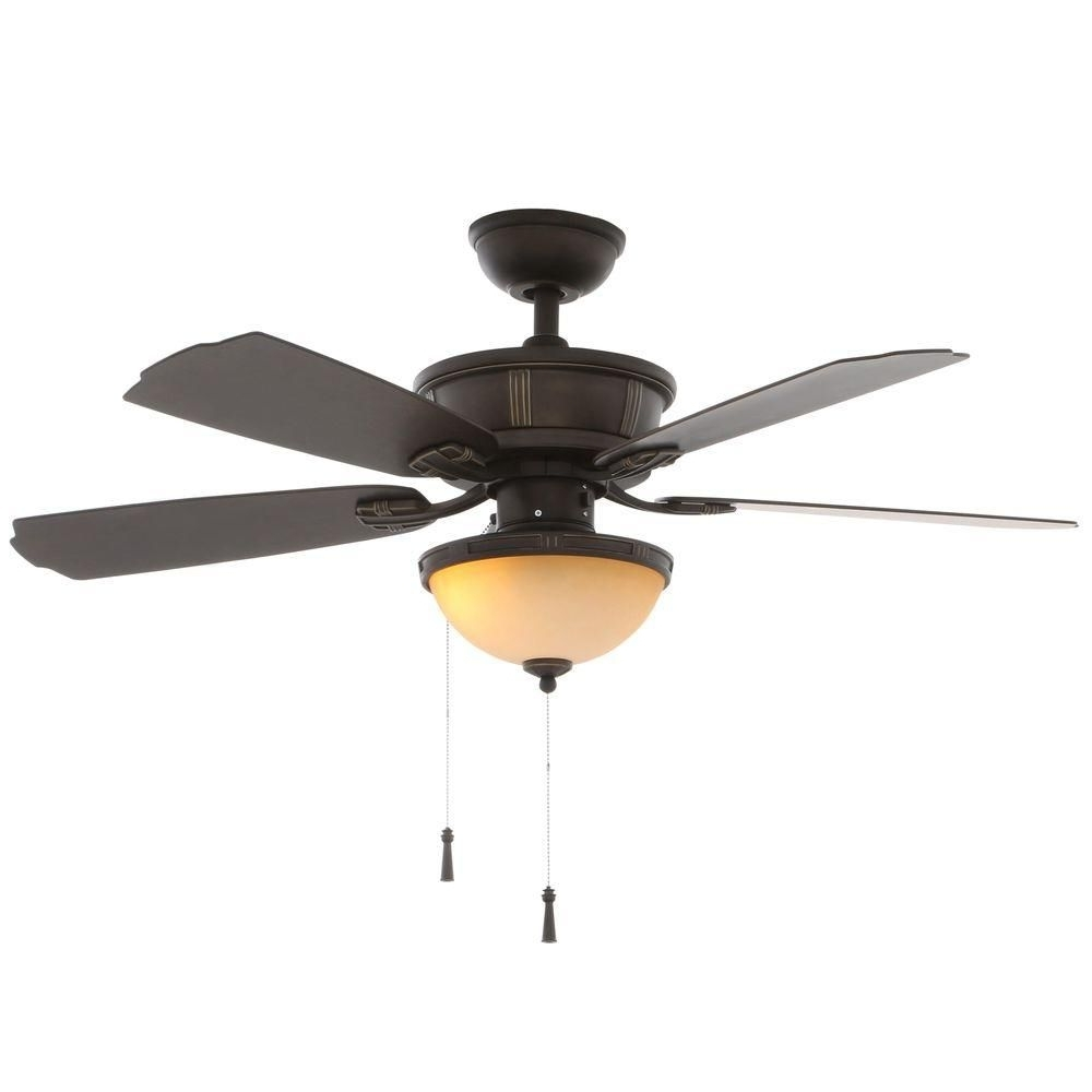 Hampton Bay Umber 46 In. Oil Rubbed Bronze Outdoor Ceiling Fan With Well Known Bronze Outdoor Ceiling Fans With Light (Gallery 19 of 20)