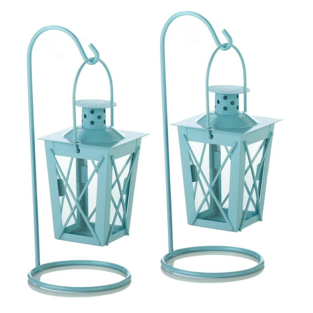 Hanging Lantern Candle, Blue Railroad Duo Glass Metal Small Hanging Within Most Current Blue Outdoor Lanterns (View 11 of 20)