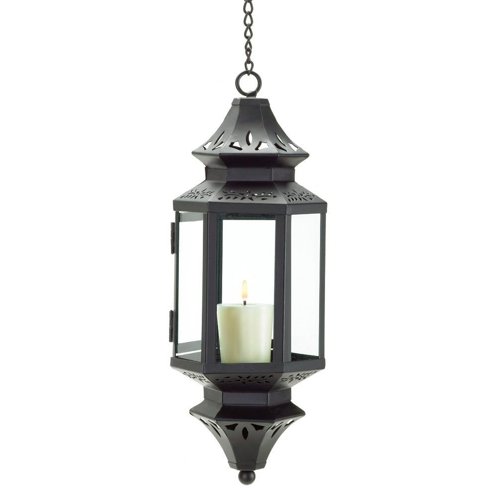 Hanging Lanterns, Moroccan Outdoor Candle Glass Metal Lantern With Recent Outdoor Hanging Lanterns For Candles (Gallery 1 of 20)
