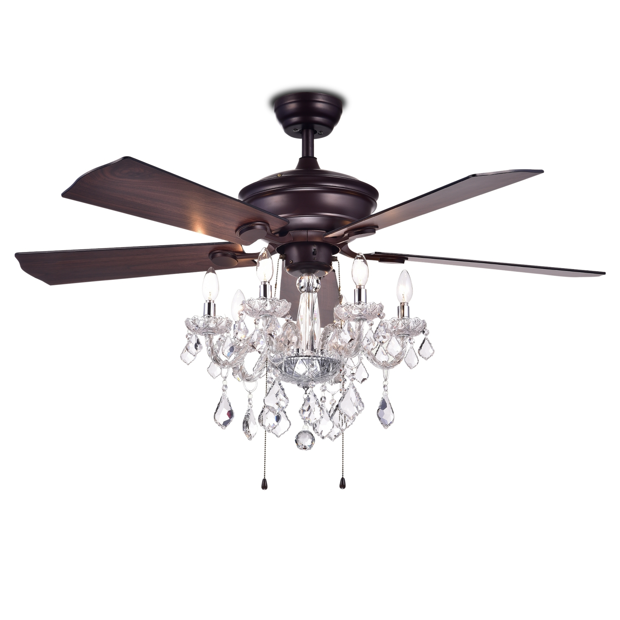 Havorand 52 Inch 5 Blade Ceiling Fan Crystal Chandelier – Walmart Within Preferred Outdoor Ceiling Fan With Brake (View 16 of 20)