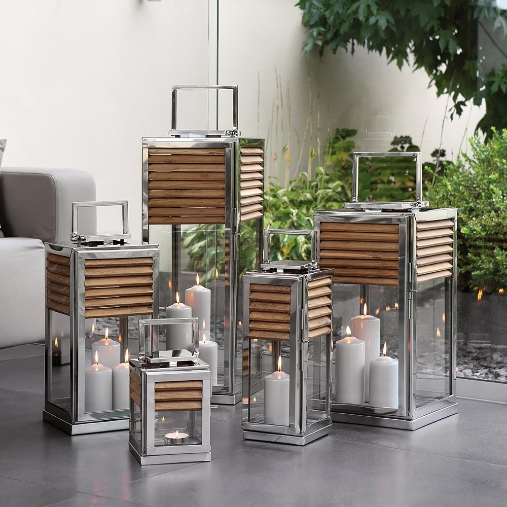 High End Modern Outdoor Teak Lantern Set (View 7 of 20)