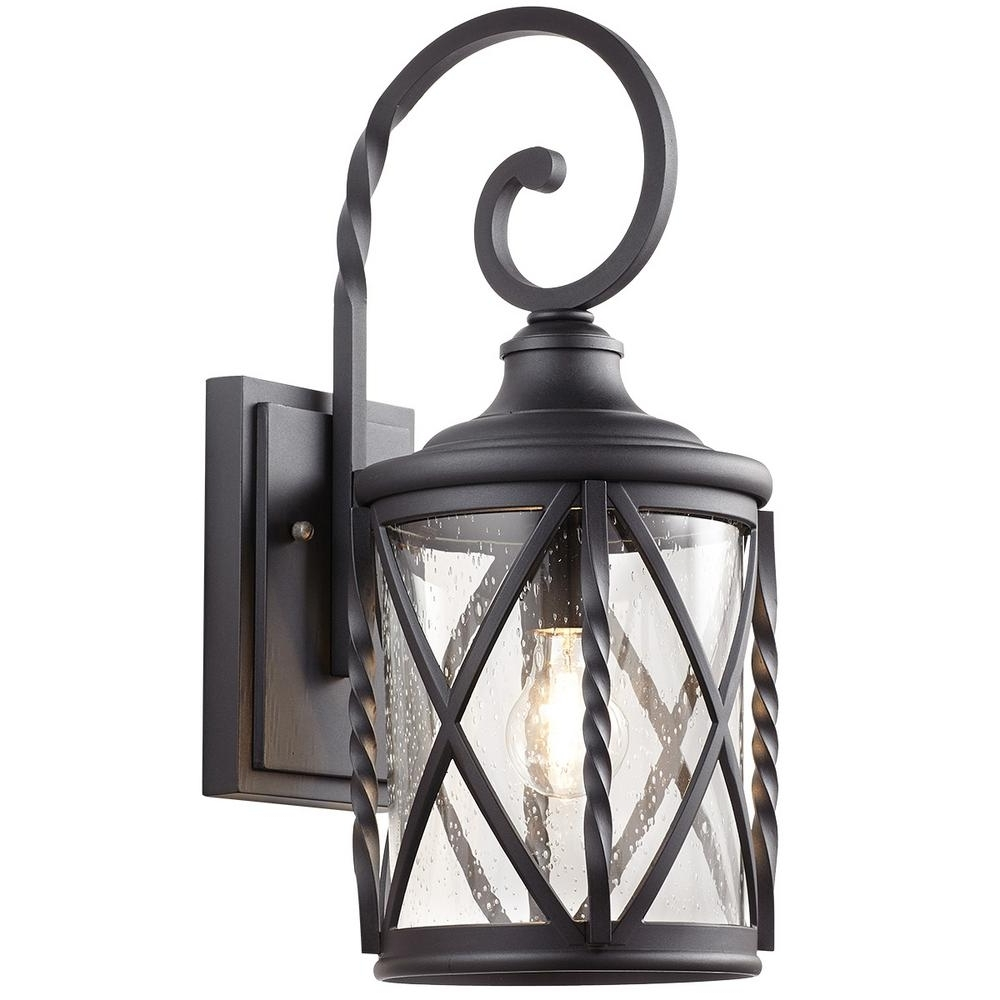 Home Decorators Collection 1 Light Black Outdoor Wall Lantern With In 2018 Outdoor Lanterns Without Glass (View 3 of 20)