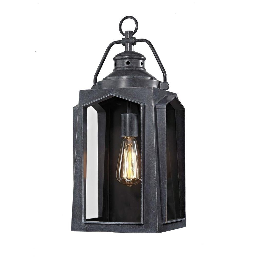 Home Decorators Collection 1 Light Charred Iron Large Outdoor Wall Intended For Latest Large Outdoor Lanterns (Gallery 10 of 20)