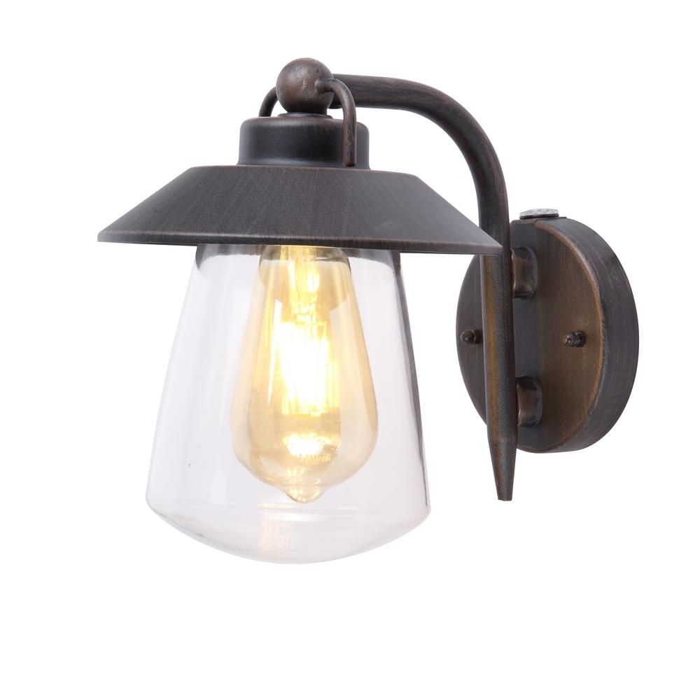 Home Decorators Collection 1 Light Rust Outdoor Wall Mount Lantern Pertaining To Preferred Outdoor Lanterns With Photocell (View 13 of 20)