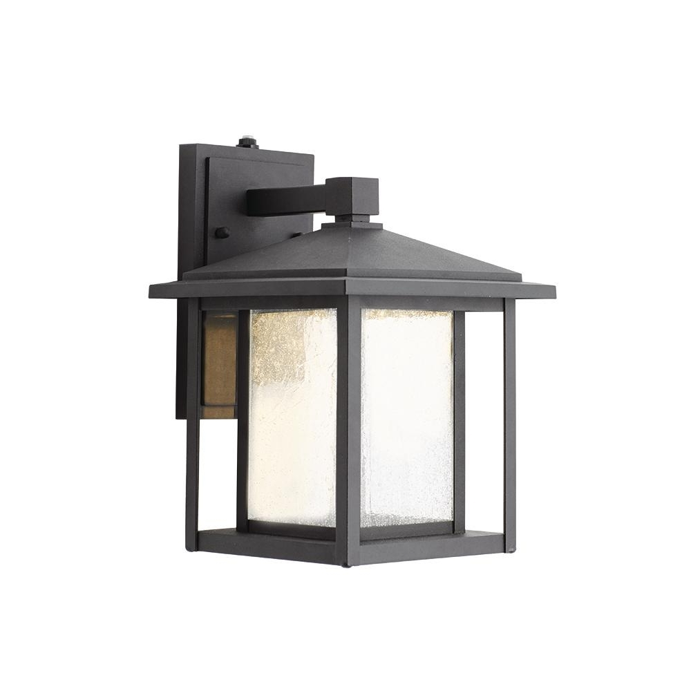Home Decorators Collection Black Medium Outdoor Seeded Glass Dusk To Pertaining To Widely Used Black Outdoor Lanterns (View 14 of 20)