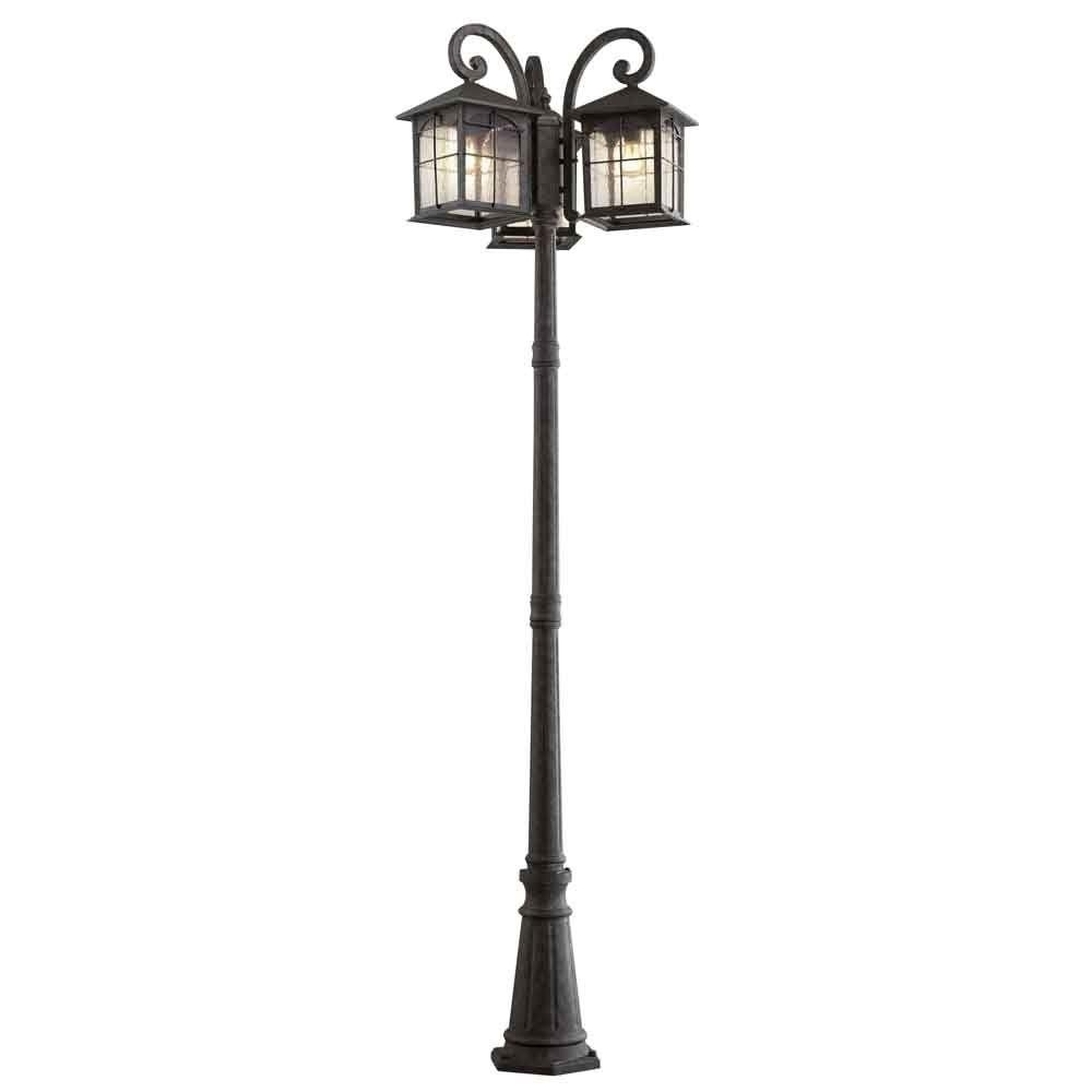 Home Decorators Collection Brimfield 3 Head Aged Iron Outdoor Post In Popular Outdoor Lanterns For Posts (View 17 of 20)