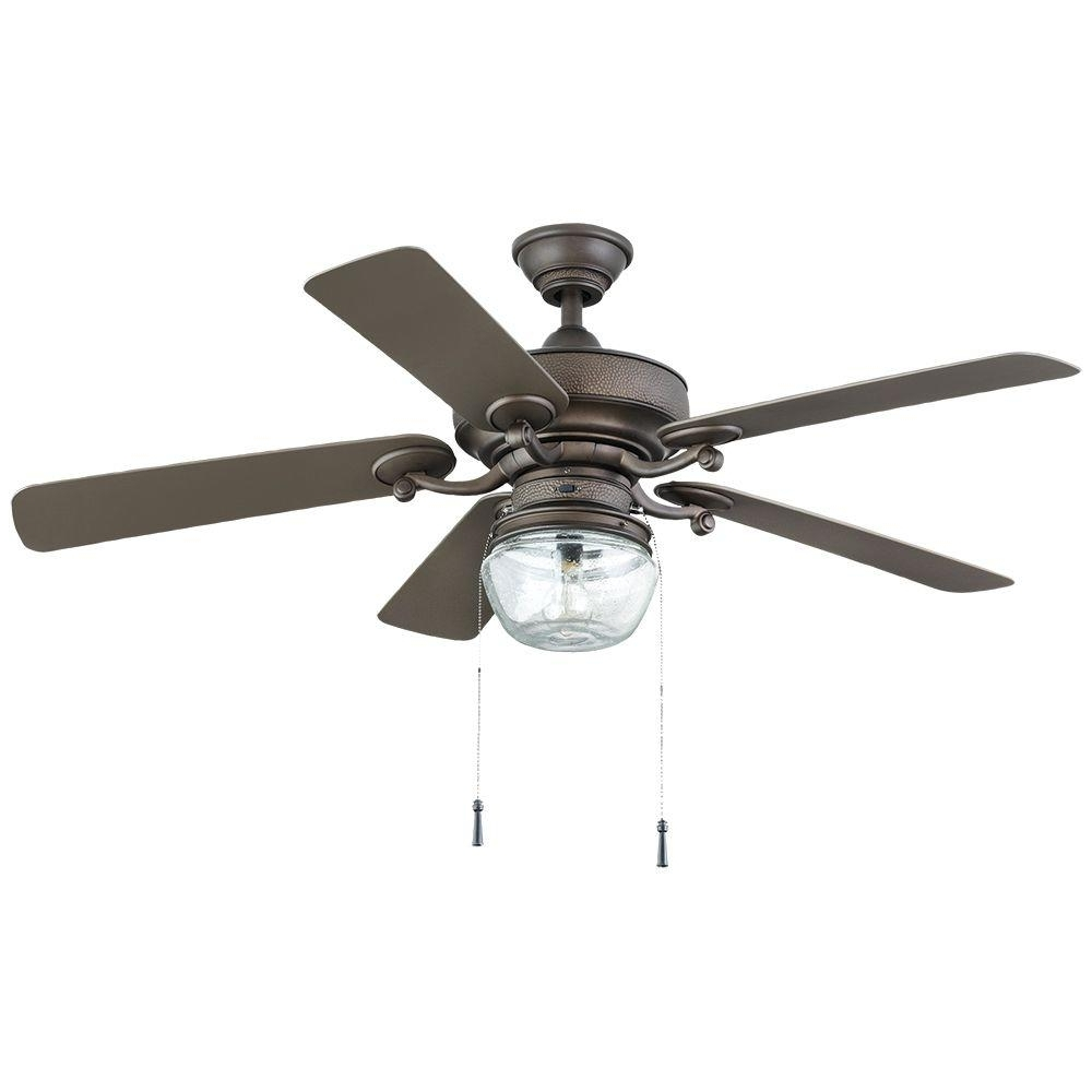 Home Decorators Collection Bromley 52 In. Led Indoor/outdoor Bronze For Famous Outdoor Ceiling Fans With Lights At Home Depot (Gallery 11 of 20)