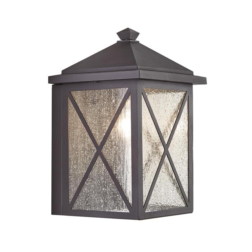 Home Decorators Collection Criss Cross 1 Light Black Medium Outdoor Regarding Recent Outdoor Lanterns Without Glass (View 3 of 20)