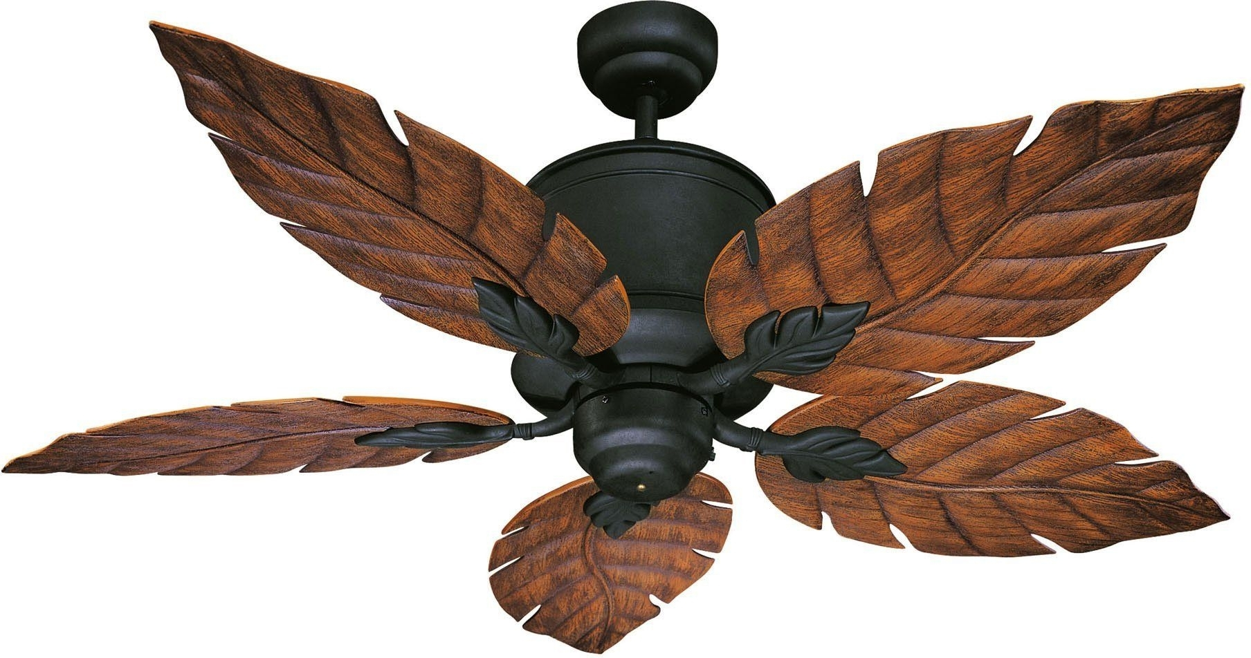 "Horseshoe Black Portico Portico 52"" Five Blade Outdoor Ceiling Fan Regarding Well Liked Outdoor Ceiling Fans With Palm Blades (Gallery 13 of 20)"
