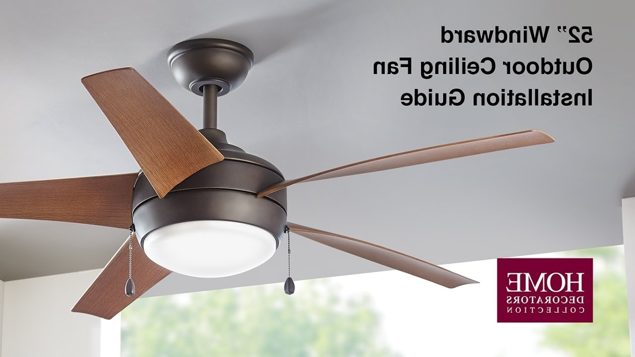 How To Install The 52 In Windward Outdoor Ceiling Fan – Youtube With Regard To Most Popular 36 Inch Outdoor Ceiling Fans With Light Flush Mount (View 18 of 20)