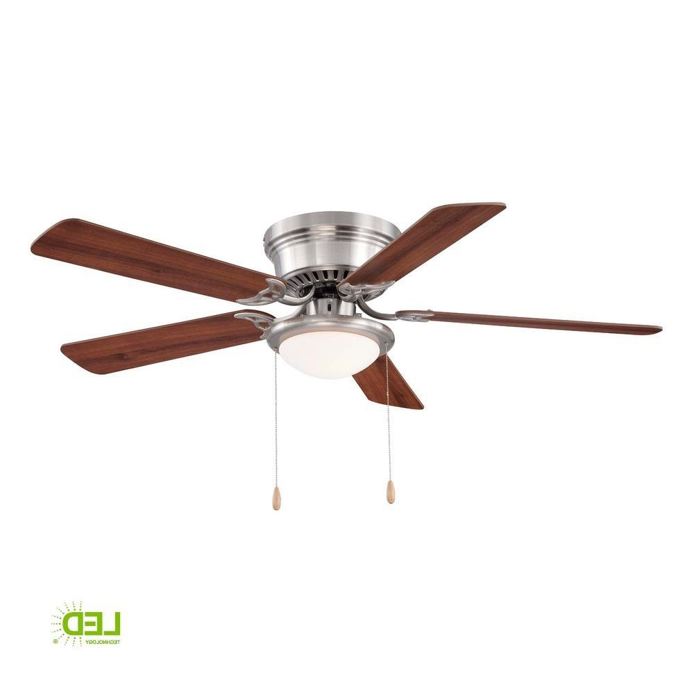 Hugger 52 In. Led Indoor Brushed Nickel Ceiling Fan With Light Kit With Most Current Hugger Outdoor Ceiling Fans With Lights (Gallery 6 of 20)