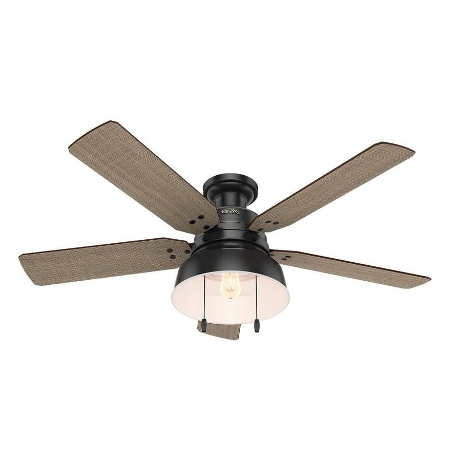 Hunter 1 Pack Mill Valley 52 In Matte Black Flush Mount Indoor In Well Liked Outdoor Ceiling Fans Flush Mount With Light (View 19 of 20)