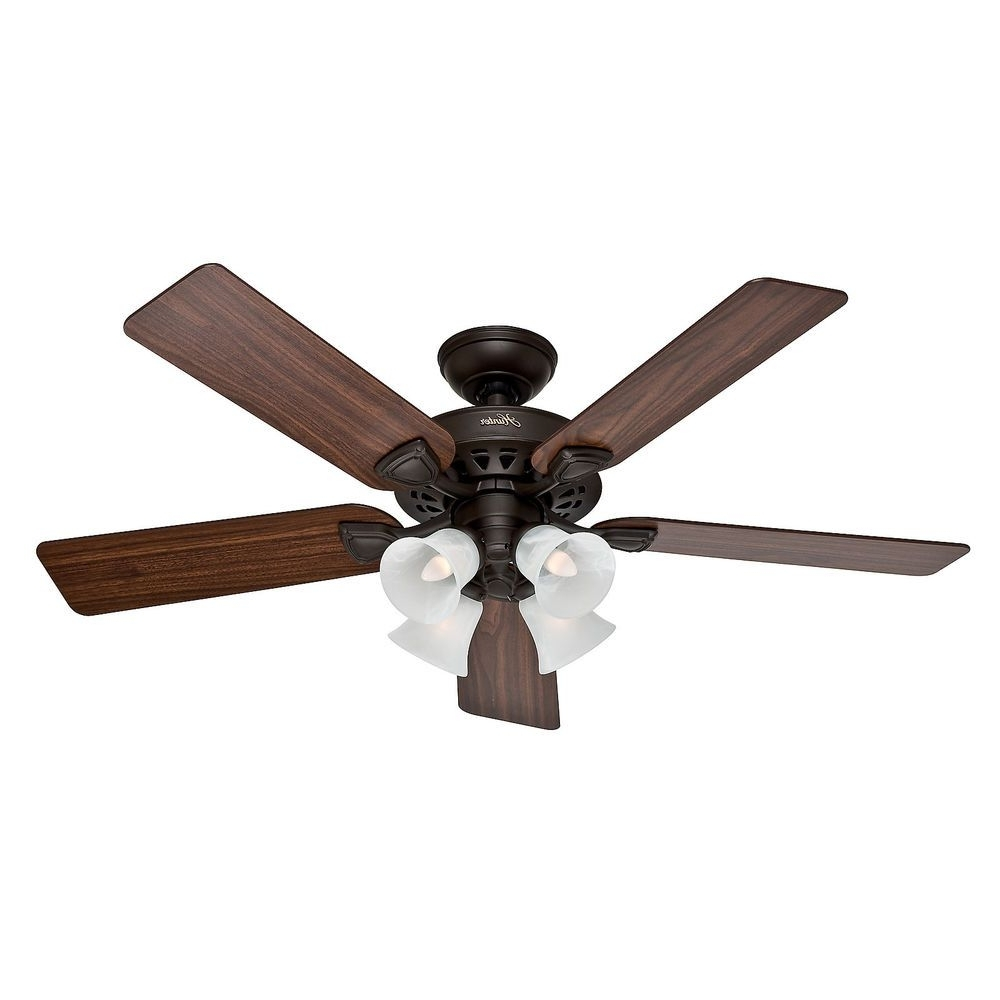 "Hunter 52"" Traditional New Bronze Finish Ceiling Fan With 4 Bulb In Newest Outdoor Ceiling Fans With Guard (Gallery 3 of 20)"