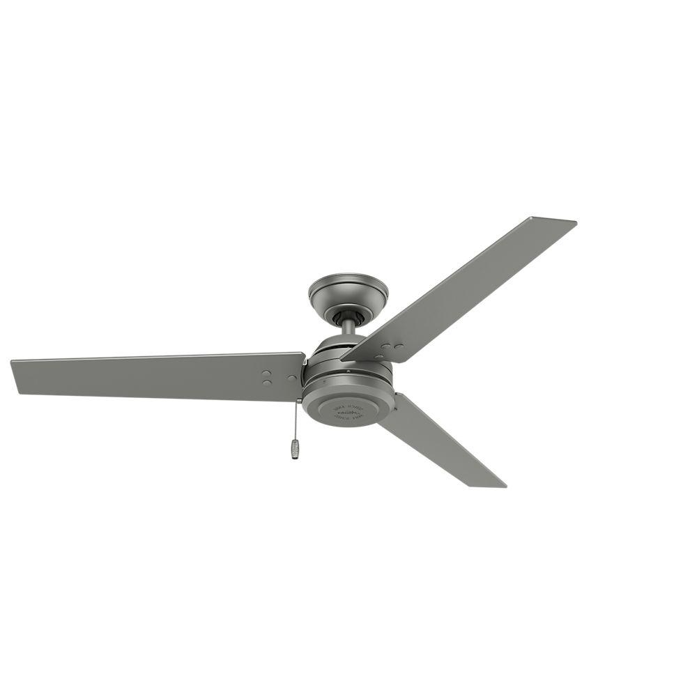 Hunter Cassius 52 In. Indoor/outdoor Matte Silver Ceiling Fan 59262 Within Most Current Hunter Outdoor Ceiling Fans With Lights (Gallery 19 of 20)
