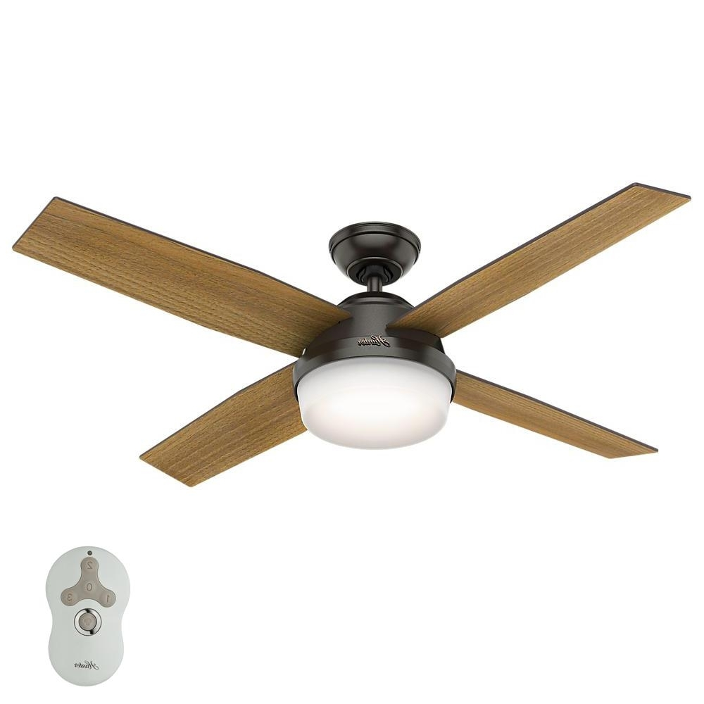 Hunter – Ceiling Fans – Lighting – The Home Depot Throughout Most Popular Outdoor Ceiling Fan With Light Under $ (View 2 of 20)