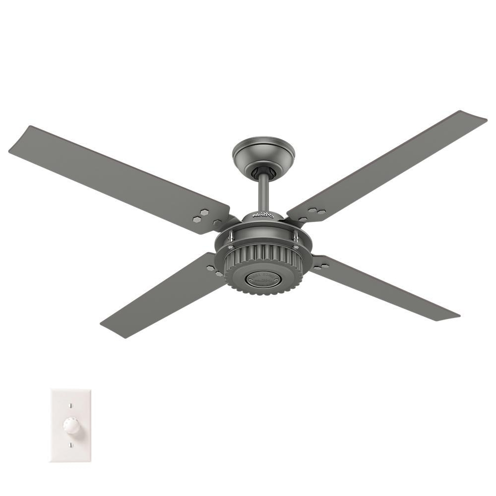 Hunter Chronicle 54 In. Indoor/outdoor Matte Silver Ceiling Fan With Within Famous Outdoor Ceiling Fans For Windy Areas (Gallery 6 of 20)