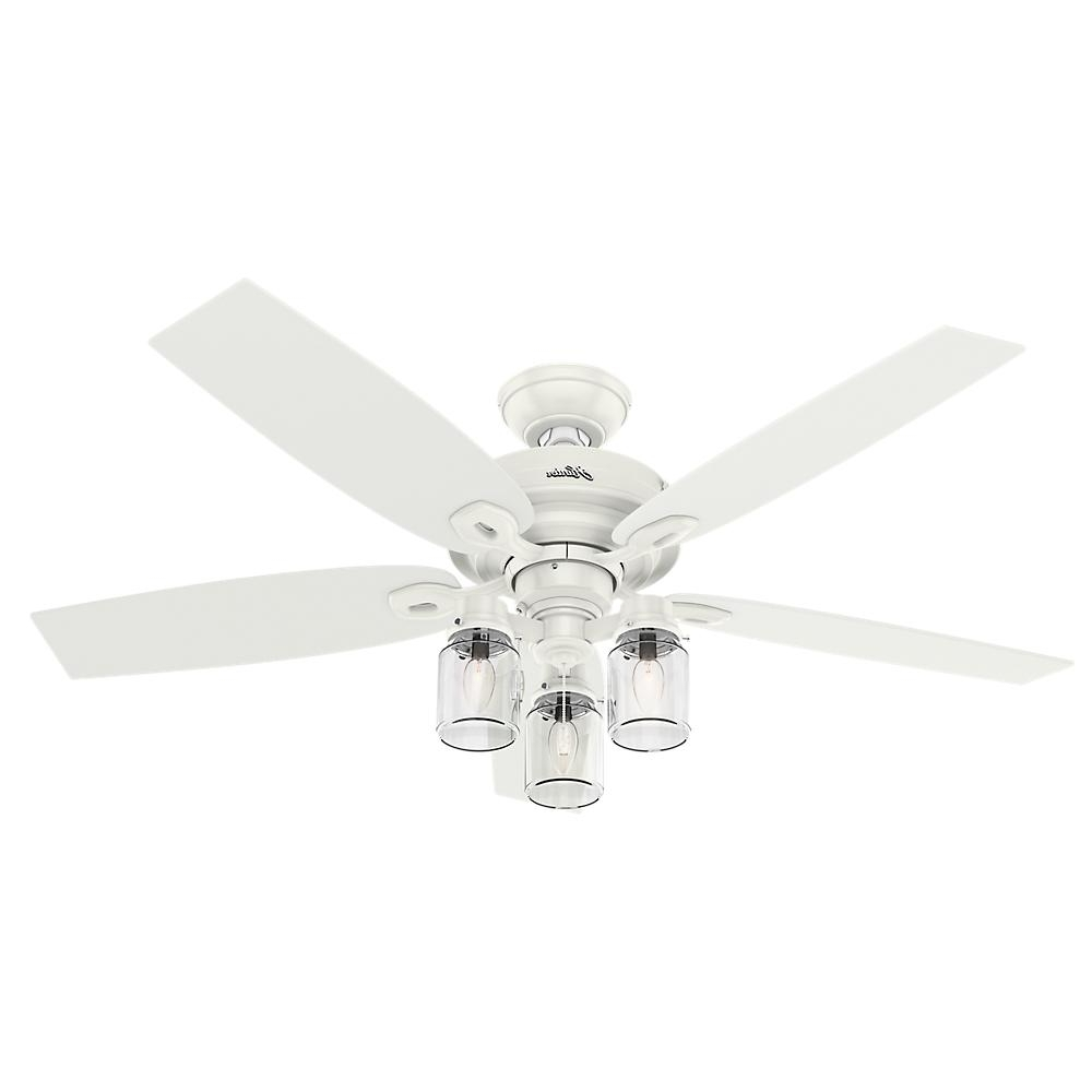 Hunter Crown Canyon 52 In. Indoor Fresh White Ceiling Fan 53361 Pertaining To Most Up To Date Outdoor Ceiling Fans With Mason Jar Lights (Gallery 16 of 20)