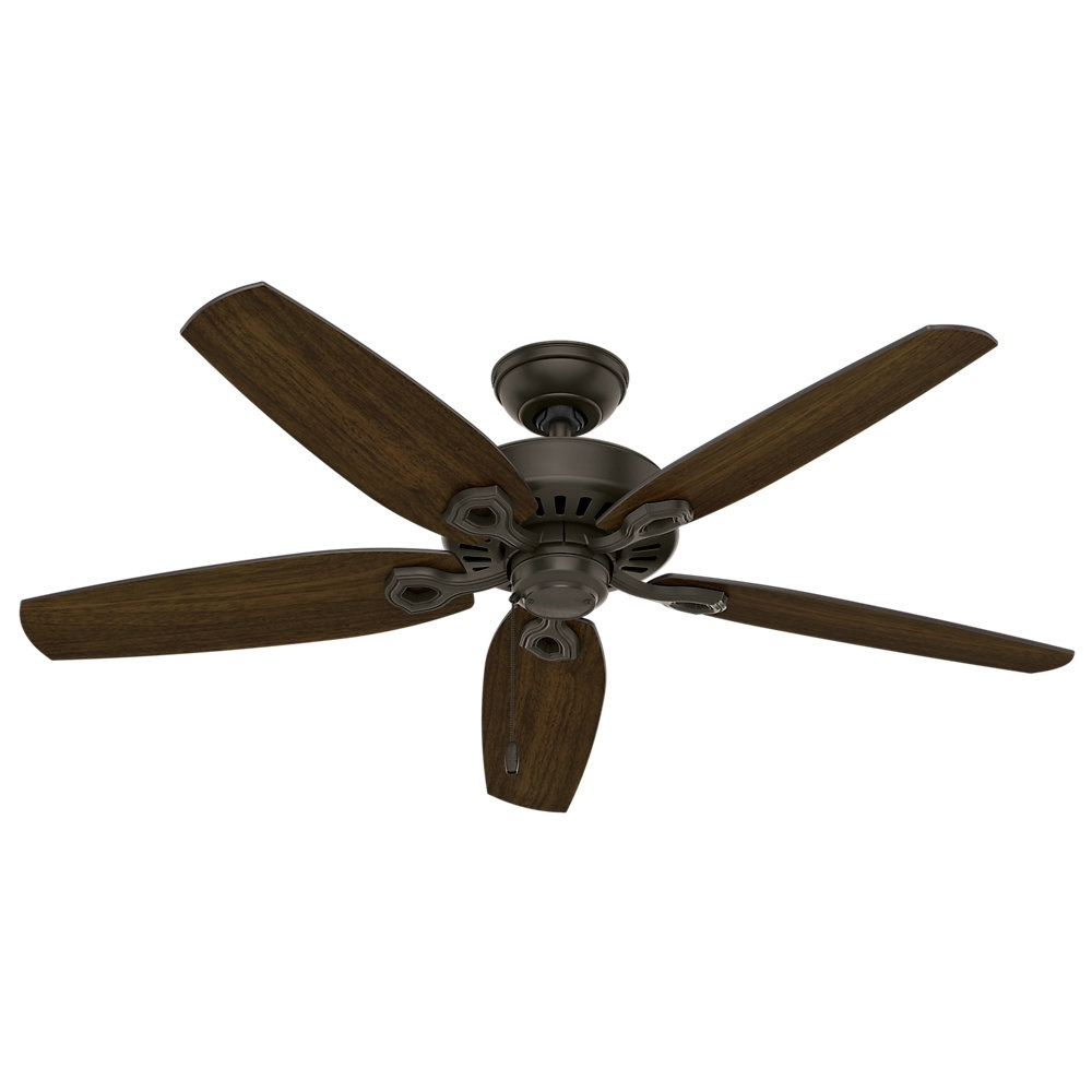 "Hunter Fan 52"" Builder Elite 5 Blade Outdoor Ceiling Fan & Reviews Pertaining To Popular Outdoor Ceiling Fans With Hook (View 6 of 20)"