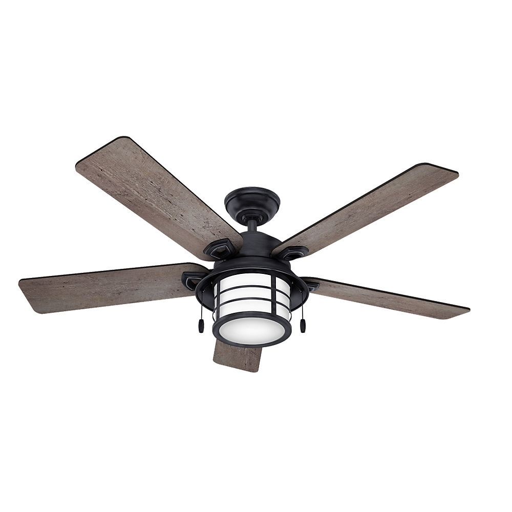 "Hunter Fan 54"" Key Biscayne 5 Blade Outdoor Ceiling Fan & Reviews Intended For Recent Outdoor Ceiling Fans With Removable Blades (Gallery 3 of 20)"