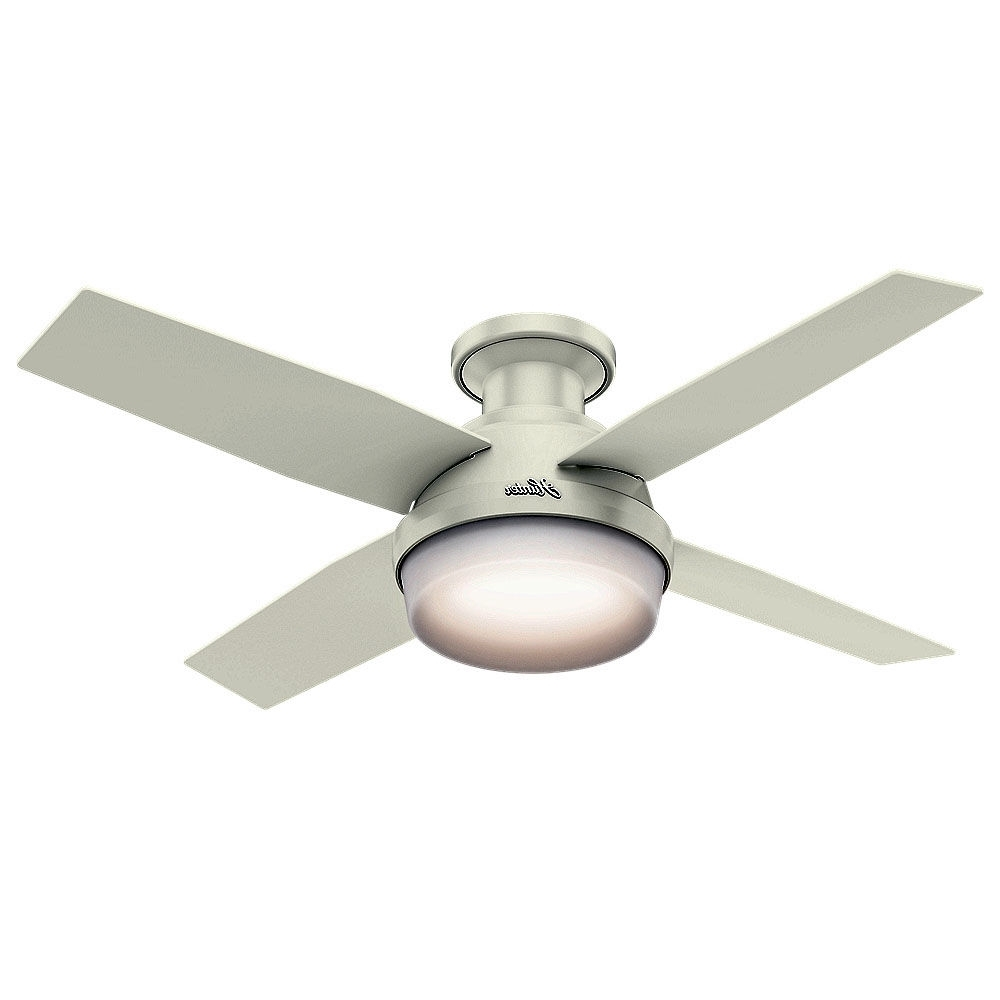 "Hunter Indoor Outdoor Ceiling Fans With Lights With Well Known Hunter 59244 Fresh White Dempsey 44"" 4 Blade Led Indoor Ceiling Fan (View 9 of 20)"