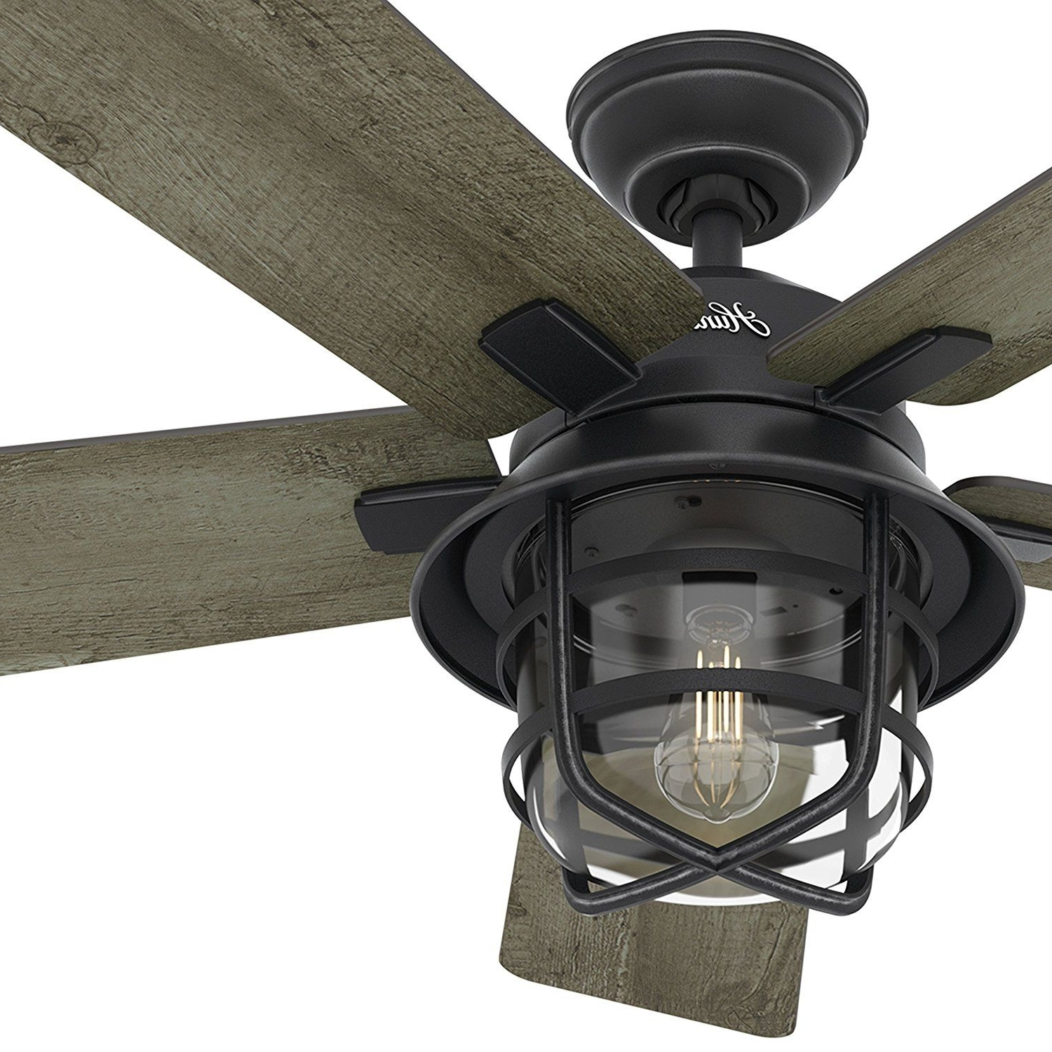 """Hunter Indoor Outdoor Ceiling Fans With Lights Within Favorite Hunter Fan 54"""" Weathered Zinc Outdoor Ceiling Fan With A Clear Glass (View 17 of 20)"""