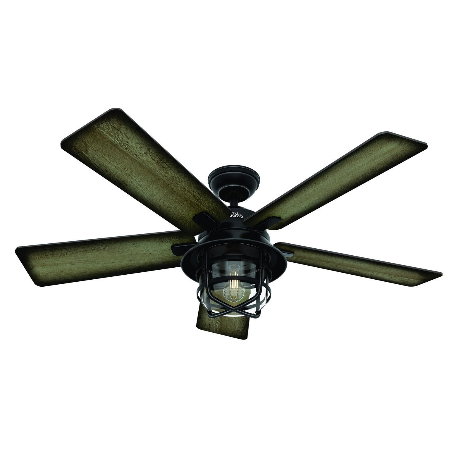 "Hunter Outdoor Ceiling Fans With Lights And Remote Within Famous Hunter 54"" Weathered Zinc Outdoor Damp Rated Led Light Remote (View 18 of 20)"