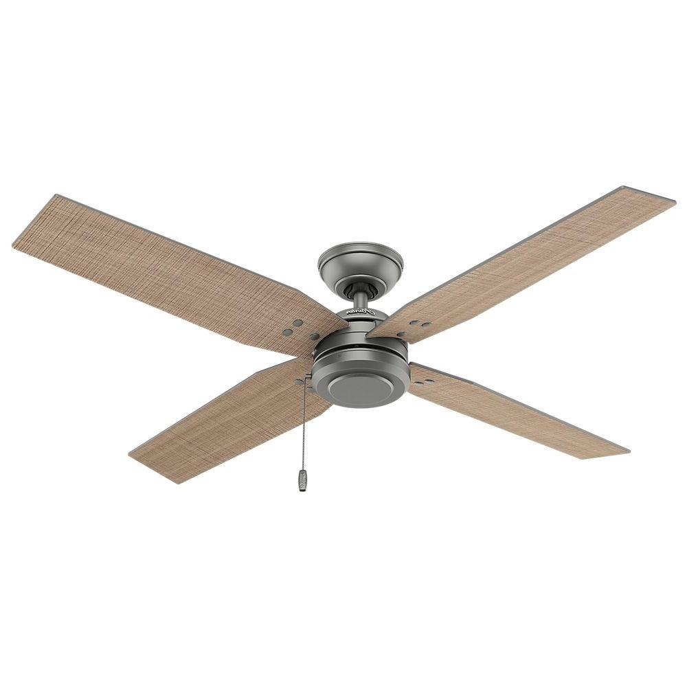Hunter Outdoor Ceiling Fans With Lights Intended For 2018 Hunter Commerce 54 In. Indoor/outdoor Matte Silver Ceiling Fan 59187 (Gallery 4 of 20)