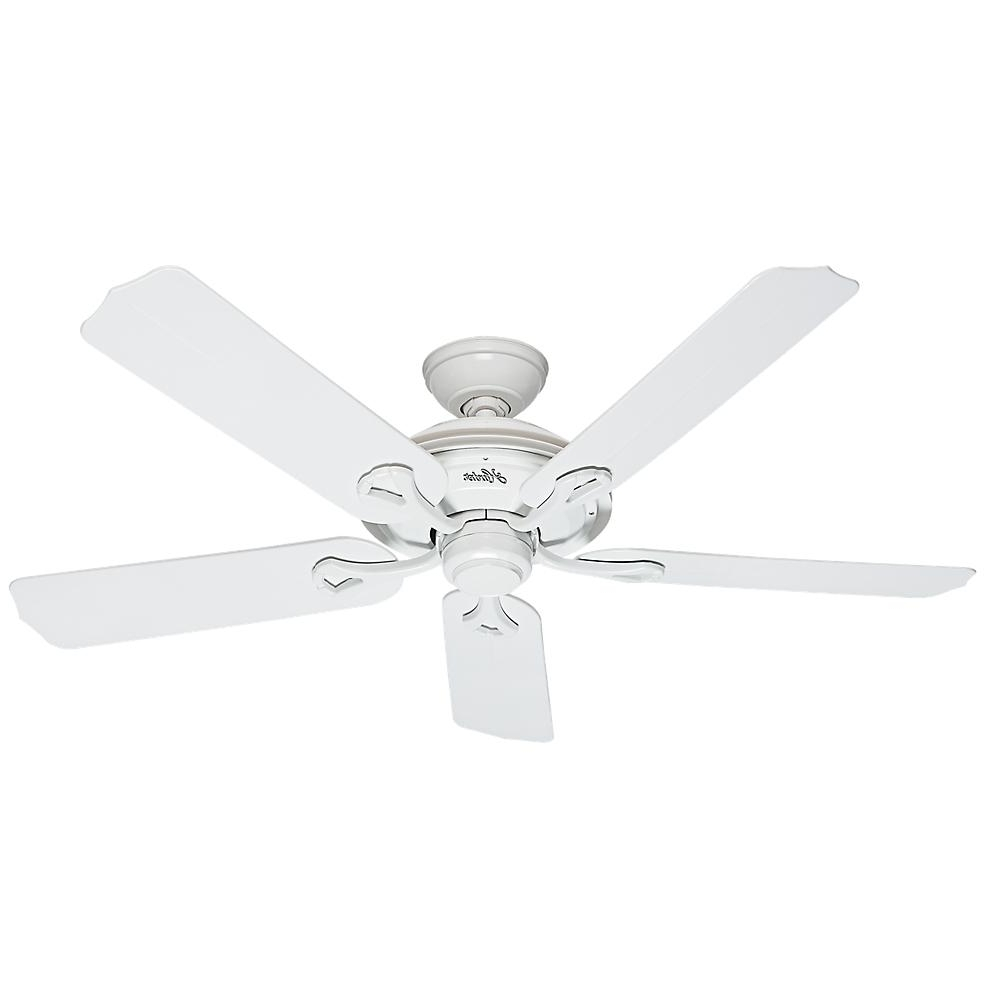 Hunter Outdoor Ceiling Fans With White Lights In Trendy Hunter Mariner 52 In. Indoor/outdoor White Ceiling Fan 59127 – The (Gallery 5 of 20)