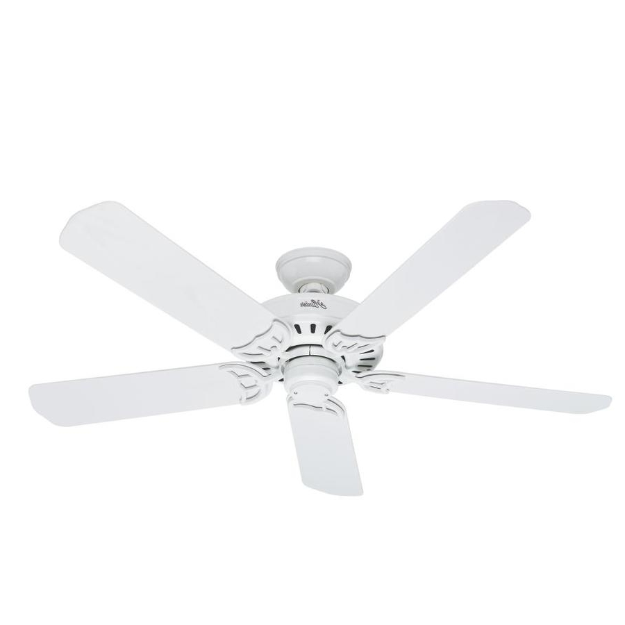 Hunter Outdoor Ceiling Fans With White Lights Intended For Recent Shop Hunter Bridgeport 52 In White Indoor/outdoor Ceiling Fan At (Gallery 8 of 20)