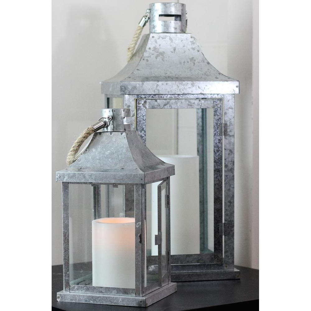 Industrial Outdoor Lanterns Intended For Well Known Northlight Industrial Flecked Metal And Glass Pillar Candle Lanterns (View 4 of 20)